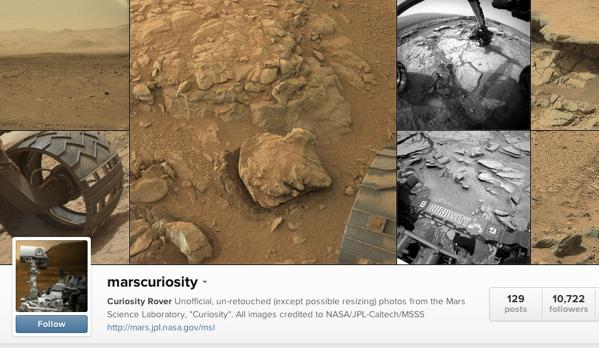 اکانت اینستاگرام معروف کاوشگر مریخ