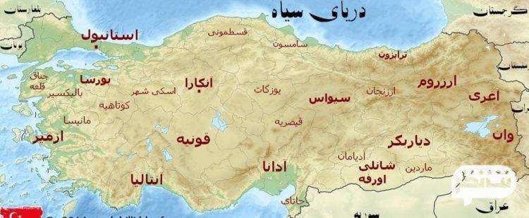 تخمینی از جمعیت و مساحت ترکیه